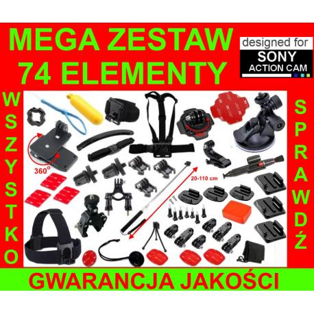 MEGA ZESTAW uchwytów i akcesoriów do kamer Sony Action Cam