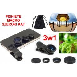 ZESTAW OBIEKTYWÓW 3w1 FISH EYE + MACRO + SZEROKI KĄT